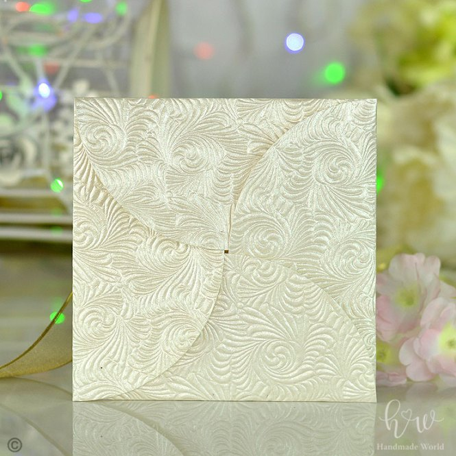 Handmade Swirl Scintillate Embossed Paper Birthday Invitation Card Design Sq Ffld06
