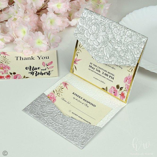 Decorative Rose Flower Pearl Textured Paper Lilac Wedding Invitations Sq Tri Prt09