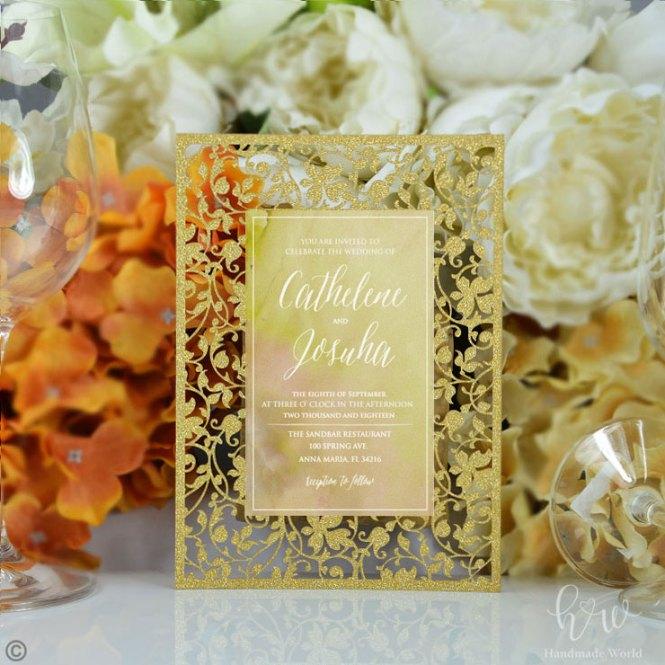 Excellent Damask Cut Glitter Party Invitation Flat Card 5x7 Lcfc02 Fgpdl