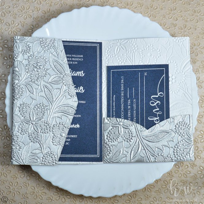 Delicate Lace Scintillate Textured Paper Fall Baby Shower Invitations 7x5 Tri Lnd14