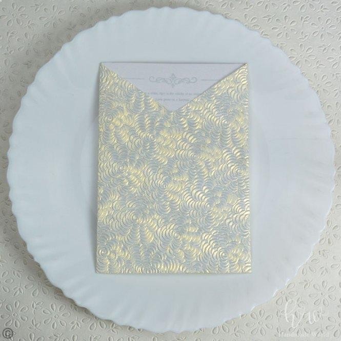 Spectacular Flower Pearl Textured Paper Reasonable Wedding Invitations 7x5 Sngv02
