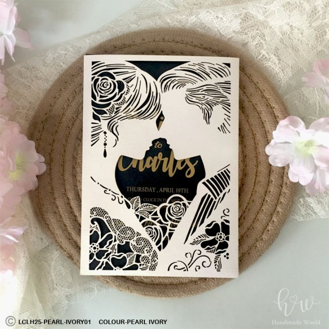 Lovely Bride And Groom Shimmer Cut Invite Lclh25 Cs