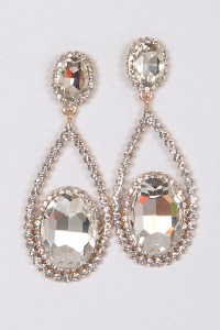 AME2346 Rose Gold Formal Elegant Earrings - Rhinestone