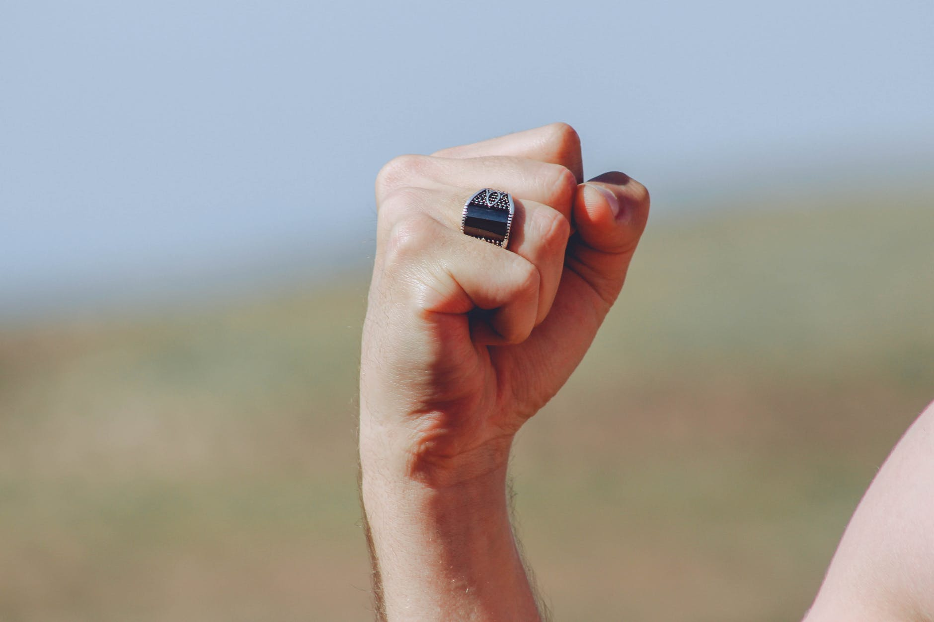 right human fist with ring