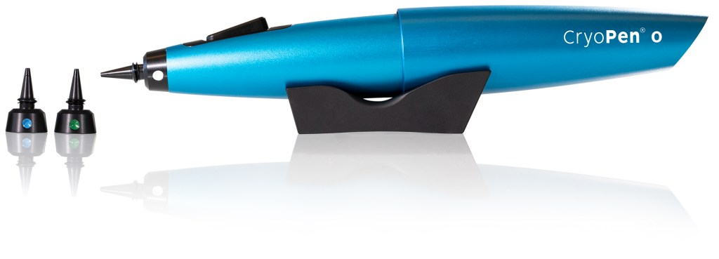CryoPen O logo with applicators and support