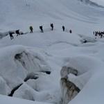 překračujeme místo, kde se setkávají Bossonský ledovec a ledovec Taconnaz