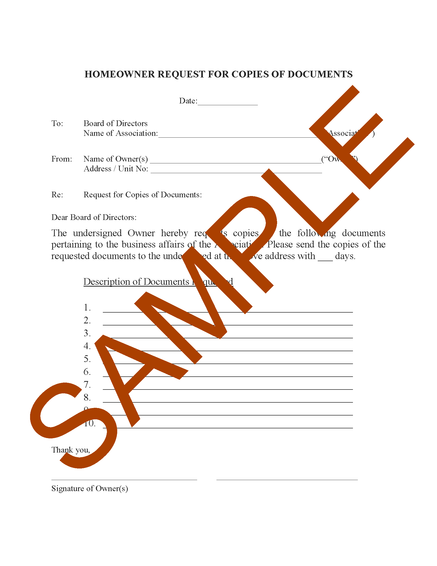 Homeowner Request For Copies Of Documents