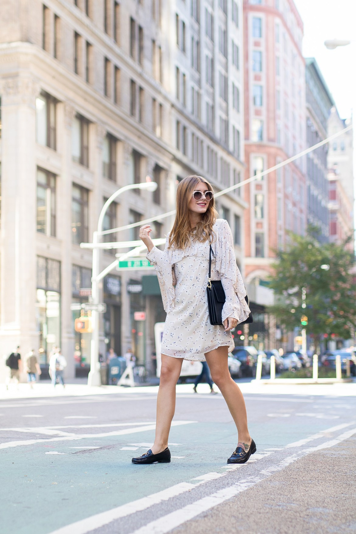 New_York_Broadway_Outfit_Ruffle_Dress_Gucci_Loafers_3