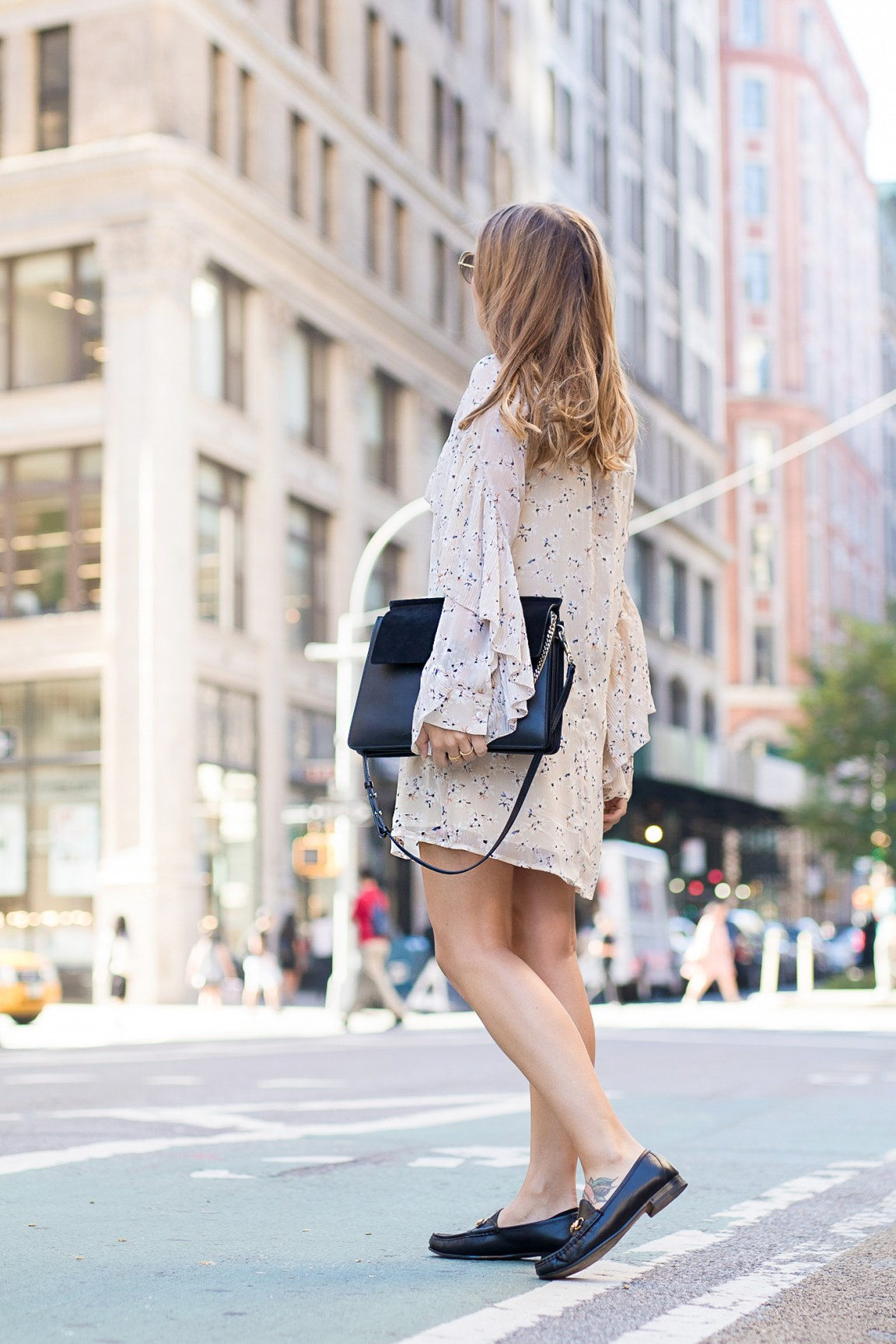New_York_Broadway_Outfit_Ruffle_Dress_Gucci_Loafers_6