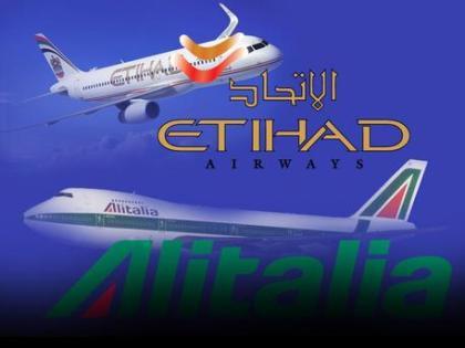 Una elaborazione grafica dei loghi Alitalia e Ethiad ANSA
