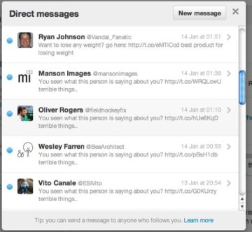 Picture about Twitter account hacking with Phishing Direct Messages