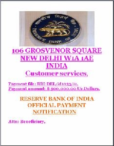 Picture about RBI Email - Payment Notification of your Funds