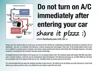 Picture about: Do Not turn on your AC as soon as you enter your Car