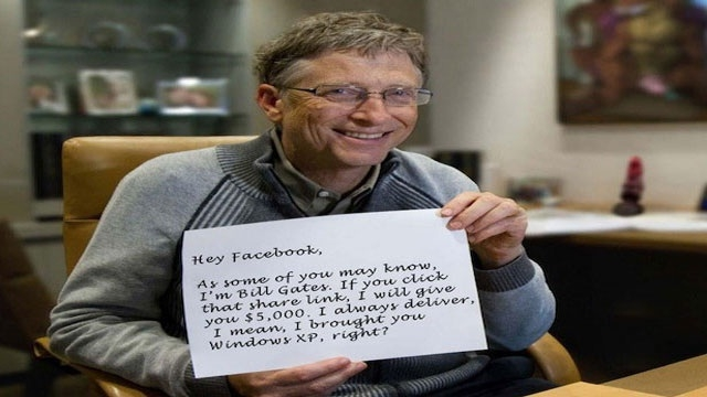 Bill Gates $5,000 Giveaway for Facebook share Hoax