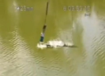 Picture from Crocodile Bites Off Head of a Bungee Jumper, Video