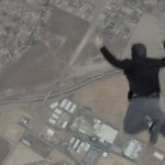 Picture about Man Jumps Out of Airplane Without Parachute onto Trampoline