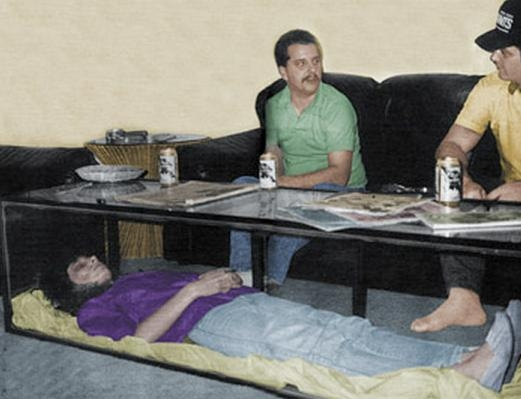 Picture about Dead Wife Preserved inside a Coffee Table