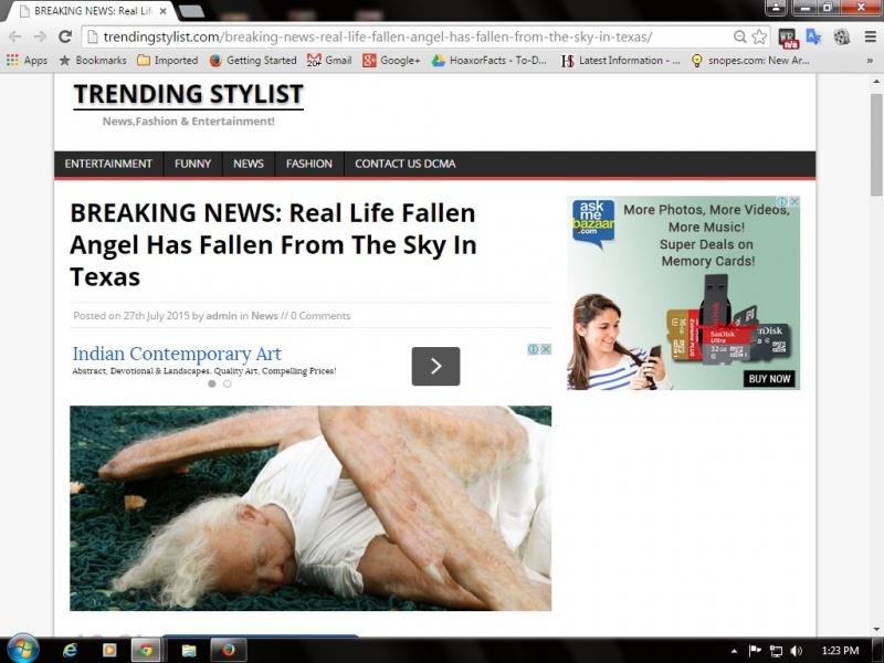 Screenshot of Fallen Angel article on Trending Stylist website