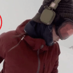 Picture about Snowboarder Girl Chased by Bear, She Didn't Even Know It, Video