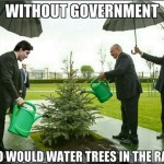 Picture Suggesting Photo of Canadian Prime Minister Justin Trudeau Watering Tree in the Rain