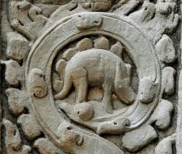 Picture of Stegosaurus Dinosaur Carved Inside Ancient Hindu Temple in Angkor Wat, Cambodia