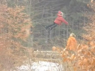 Picture of Flying Girl Caught on Video in Russian Wood