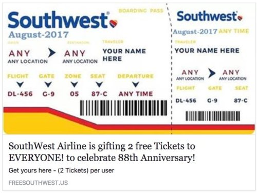Picture: Beware of Free Airline Tickets Scam on Social Media