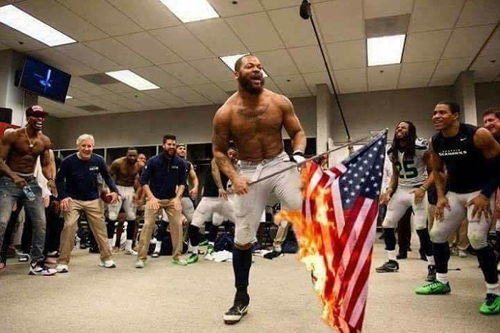 Picture about Seattle Seahawks' Defensive End, Michael Bennett Burning U.S. Flag
