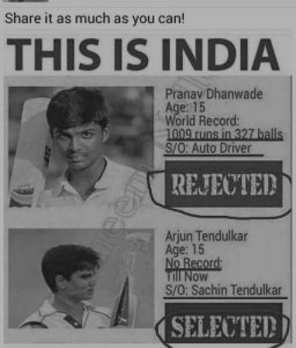Picture about Pranav Dhanwade Rejected Arjun Tendulkar Selected