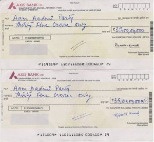 Similar Fake cheques in the name of Aam Aadmi Party