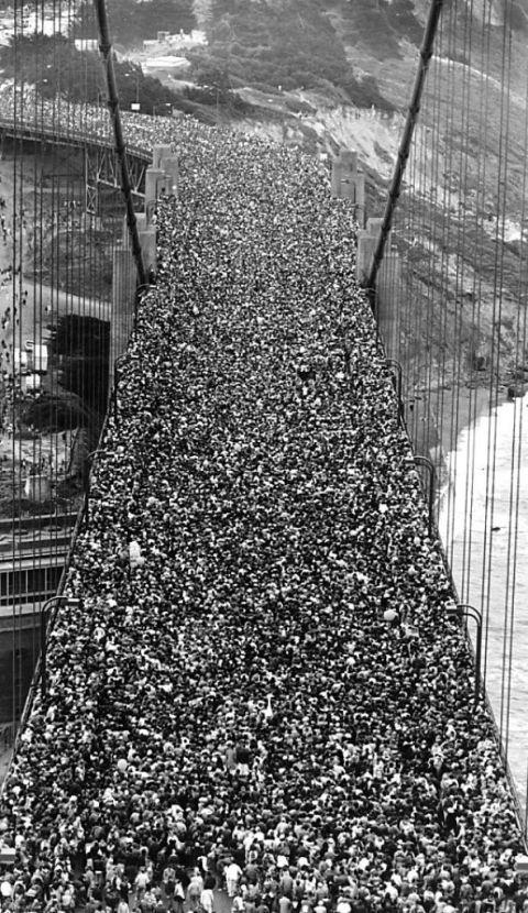 Alleged Golden Gate Bridge Opening Day Photograph Showing Massive Public
