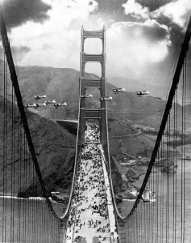 Golden Gate Bridge Opening Day Photograph in 1937
