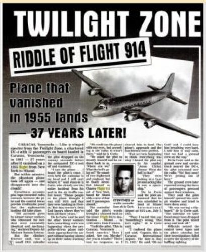 Picture: Riddle of Flight 914 Article on Weekly World News Tabloid