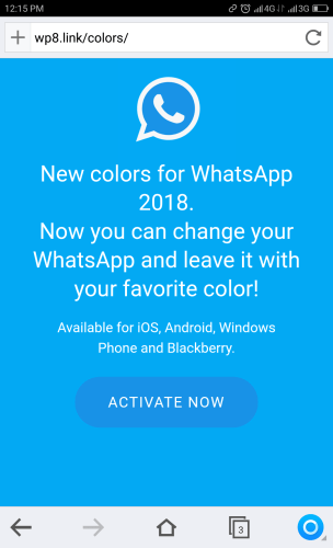 New Multicolor WhatsApp 2018 Message: Screenshot of Landing URL