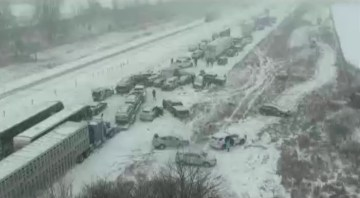 Picture from alleged Shocking M62 Crash Video in UK Storm