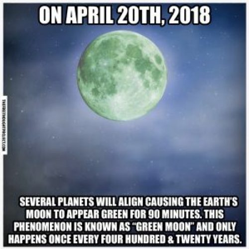 Image about Green Moon Rare Phenomenon on 20th April 2018