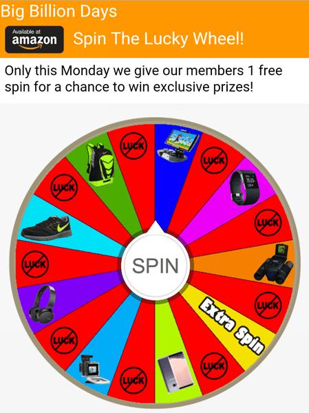 Image about Big Billion Days Spin The Lucky Wheel WhatsApp Scam