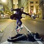 Image about Joker Heath Ledger Skating Over Batman Christian Bale