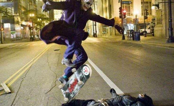 Joker Heath Ledger Skating Over Batman Christian Bale, Picture: Fact Check