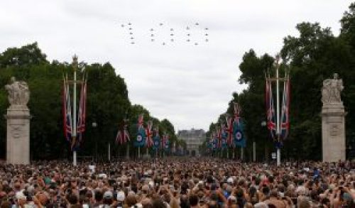 Image of United Kingdom's Royal Air Force (RAF) Displaying 100 on Sky during Centenary Celebrations
