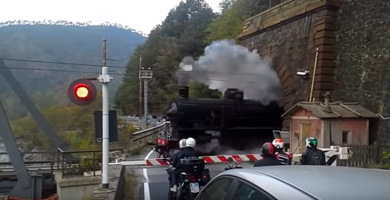 Image of Steam Train Comes Out of Tunnel Beautiful Scene