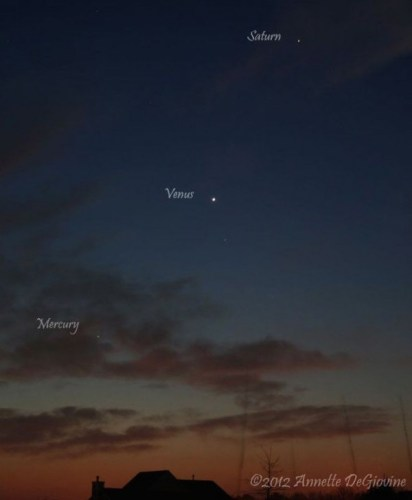 Image of Planets as seen on December 3, 2012 in Long Island, New York