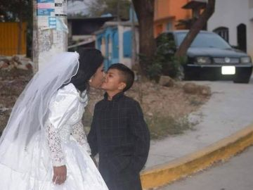 Viral Photos about Young Boy Marrying Adult Woman