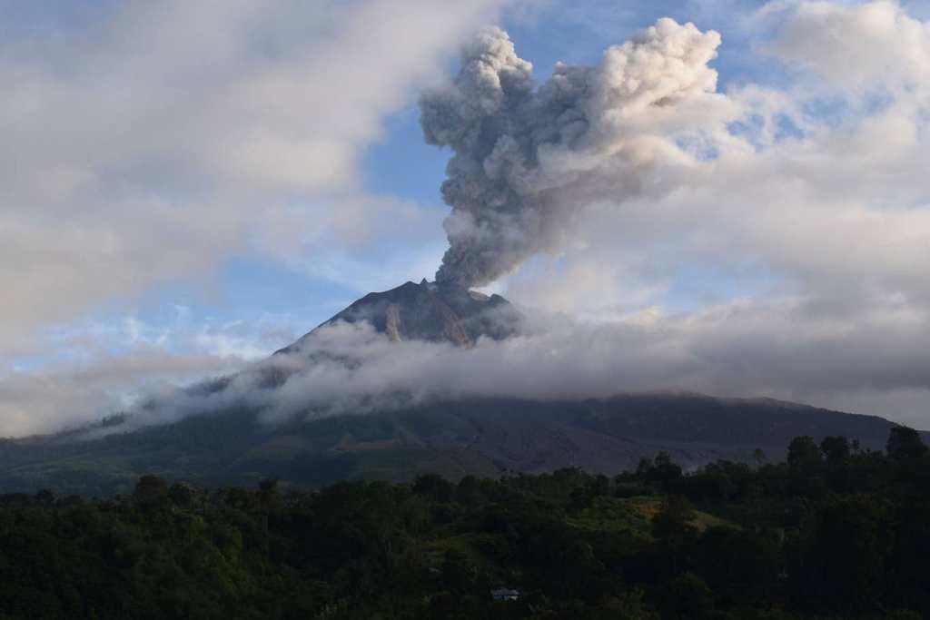 Image of Mount Sinabung volcano eruption near the village of Karo in North Sumatra, Indonesia