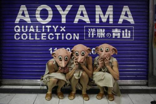 Image of Participants dress up as Dobby on the 2017 Halloween weekend in Tokyo, Japan.