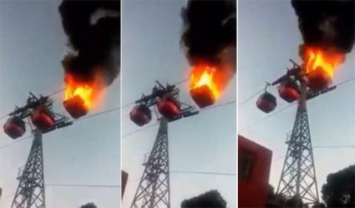 Image about Haridwar Mansa Devi Temple Ropeway Caught on Fire, Video
