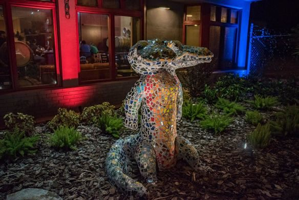 Image of Two headed alligator sculpture installation by artist Justin Arnold
