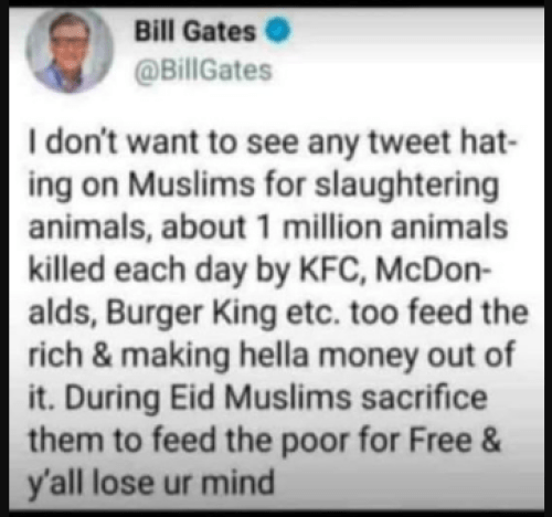 Image about Bill Gates Supporting Muslims' Animal Sacrifice on Eid