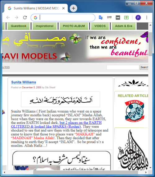 Screenshot of claims in an article on a Pakistani blog