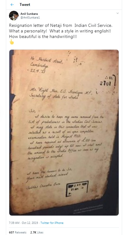 Image of story on Twitter about Netaji Resignation Letter to ICS, Indian Civil Service